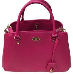 78f015c07a5 Coach Stylish Crossgrain Leather Satchel in Hot Pink Designer Handbags On  Sale