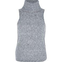 Grey fluffy ribbed turtle neck top - plain t-shirts / vests - t shirts / vests / sweats - women
