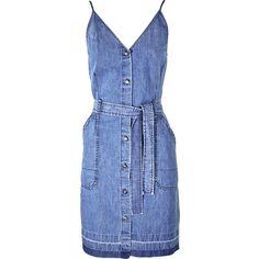 J Brand Carmela Belted Denim Dress (6 570 UAH) ❤ liked on Polyvore featuring dresses, blue fitted dress, j brand dresses, fitted dresses, blue dress and lightweight dresses