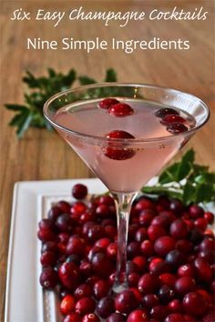6 Easy Champagne Cocktails, 9 Simple Ingredients. Today's cocktail: The Poinsetta