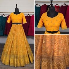 Yellow net glitter zari embroidery work lehenga choli