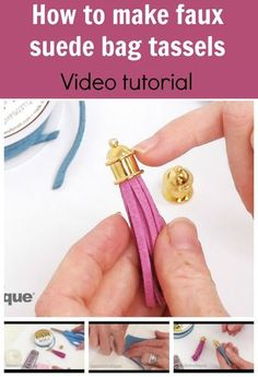 VIDEO - how to quickly and easily make these faux suede tassels that you can use on bags. Genius idea, includes links for where to get the materials.