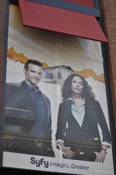 """Window banner in the Gaslamp District promoting the SyFy Channel series """"Warehouse 13"""".     I like this one"""
