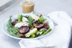 Roasted Beet and Green Apple Salad with Honey Mustard Dressing | a Couple Cooks