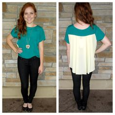 Teal top with pleated back!