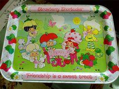 "NICE Vintage 1983 Strawberry Shortcake TV Tray ""Friendship is a Sweet Treat"""