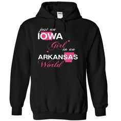 Just An Iowa Girl In A Arkansas World T-Shirts, Hoodies. Get It Now ==> https://www.sunfrog.com/Valentines/-28IAJustHong001-29-Just-An-Iowa-Girl-In-A-Arkansas-World-Black-Hoodie.html?id=41382