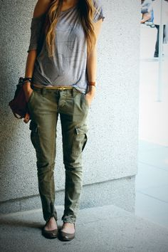 Asymmetrical shirt and green cargo pants. Love the Target flats too. // Just Zipped