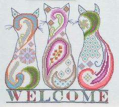 Cross Stitch Design MarNic Designs - Paisley Cat Welcome – Stoney Creek Online Store - -Model is stitched on Antique White Jobelan. -The stitch count is x Threads used are: DMC floss - 3840 and Caron Collection - Waterlilies 032 Passion. Cat Embroidery, Cross Stitch Embroidery, Embroidery Patterns, Machine Embroidery, Cross Stitch Charts, Cross Stitch Designs, Cross Stitch Patterns, Blackwork, Photo Chat