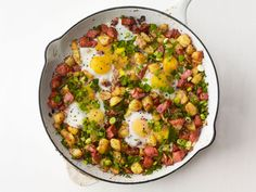 Skillet Hash and Eggs Recipe : Food Network Kitchen : Food Network Easy Skillet Meals, Easy Meals, Skillet Recipes, Kids Meals, Breakfast Time, Breakfast Recipes, Breakfast Ideas, Sunrise Breakfast, Breakfast Hash