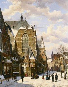 Willem Koekkoek (Amsterdam 1839-1895 Nieuwer-Amstel (thans Amstelveen)) Besneeuwd kerkplein met figuren - Kunsthandel Simonis en Buunk, Ede (Nederland).