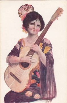 Spanish vintage postcard .Woman with guitar.Gypsy by ParisBookandPaper on Etsy https://www.etsy.com/listing/178692354/spanish-vintage-postcard-woman-with
