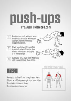Once you master the push-up (or even a less challenging version of a push-up like an elevated push-up or push-up off your knees), do this intense two-move workout that will make you burn all over. Workout Plan For Men, Workout Plan For Beginners, Workout Plans, Men Exercise, Workout Men, Fat Workout, Excercise, Exercise Moves, Boxing Workout