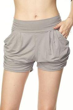 Gray Harem Shorts, Sort Shorts, Shorts with Pockets, Flattering shorts