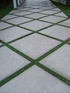 The 2 Minute Gardener: Photo - Concrete Pathway Accented with Field Turf Use for. The 2 Minute Gar Outdoor Walkway, Paver Walkway, Backyard Patio, Backyard Landscaping, Backyard Ideas, Landscaping Ideas, Grass Driveway Pavers, Permeable Driveway, Front Yard Walkway