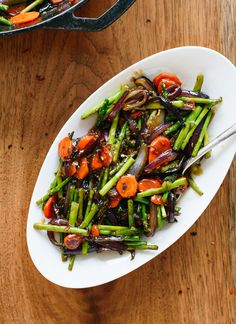 This spring vegetable stir-fry is fresh and full of flavor! Vegetarian; easily vegan and gluten free.