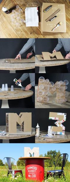 In this DIY tutorial, we will show you how to make Christmas decorations for your home. The video consists of 23 Christmas craft ideas. Home Crafts, Diy And Crafts, Crafts For Kids, Paper Crafts, Diy Birthday, Birthday Party Decorations, Diy Letters, Diy Party Letters, Cardboard Letters