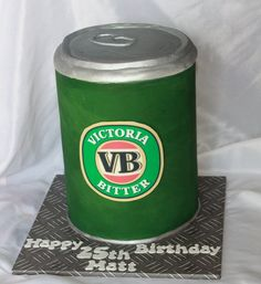 VB can cake, For those not familar, it Victoria Bitter, a popular beer, used central pole for support…… thankfully as the party was at a NATIONAL PARK…so bumpy drive here we come…thankfully the birthday boys sister was delivering it…I would be. Boy Birthday, Birthday Cakes, Beer Can Cakes, Most Popular Beers, Jake Cake, 30th, 21st, Cake In A Can, Cake Creations