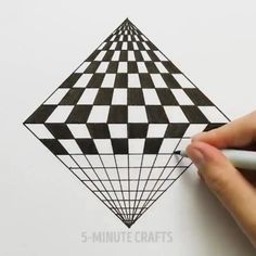 Mal, 291 Kommentare - Crafts ( auf In. 3d Art Drawing, Geometric Drawing, 3d Drawings, Geometric Art, Optical Illusions Drawings, Illusion Drawings, Optical Illusion Art, Illusions Mind, Op Art