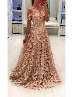 Fairy Butterfly Style Prom Dresses Off the Shoulder Lace Formal Dress Pink Prom Dresses, Lace Bridesmaid Dresses, Homecoming Dresses, Event Dresses, Wedding Dress, Satin Formal Dress, Formal Evening Dresses, Military Ball Gowns, Prom Dresses With Pockets