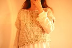 Crop Top/Knit/Untreated Wool/Cream/Ecofriendly by TheSlowCatwalk, €70.00