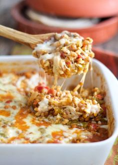 Southwestern Lentil and Brown Rice Bake skip cheese or use vegan