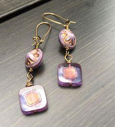 Purple Square Czech Glass Earrings   Amethyst Earrings   Boho Earrings   Minimalist   Square Dangle Earrings   Product id: ASQ417