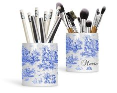 Blue Toile Personalized Pen and Pencil Holder, Makeup Brush Holder, French Country Decor