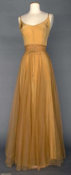"""VALENTINA SILK EVENING SKIRT, 1930s Unlabeled & bought at Valentina Schlee's personal estate sale #6951 Christie's East, 1990: tan silk illusion long open-front skirt w/ CF laced waistband, full length tan silk slip w/ braided narrow straps, W 26"""", L 45"""":"""
