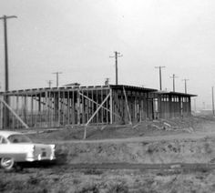 Construction of first building on the San Fernando Valley State College (now CSUN) campus, 1956. CSUN University Archives.