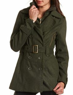 Belted Double Breasted Coat: Charlotte Russe