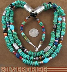 Native American Indian Jewelry Sterling Silver And Multicolor Bead Necklace AS26584