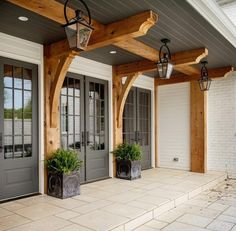 Craftsman style home front door- glass panes and wood beams