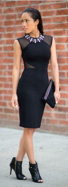 BLACK SHEER PANEL JERSEY DRESS By Plog Style