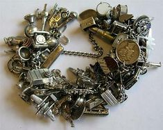 Sterling Silver Bracelets Vintage Silver Charm Bracelet 72 Charms in Jewelry Gold And Silver Bracelets, 925 Silver Earrings, Silver Charms, Sterling Silver Bracelets, Silver Rings, Silver Cuff, Silver Necklaces, Vintage Charm Bracelet, Silver Charm Bracelet