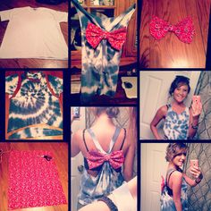 Diy tie dye shirt with bow. 4th of July shirt