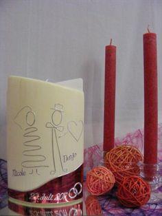 Hochzeitskerze*Brautpaar*inkl.Beschriftung von WACHSLÄDLE auf DaWanda.com