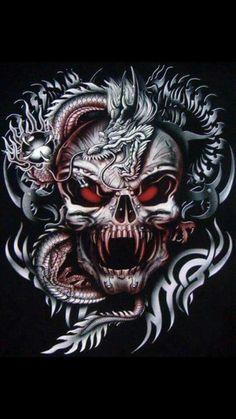 Pin on Dragon With Skulls By Francisco Sanchez Tattoos. Dragon With Skulls By Francisco Sanchez Tattoos. Skull Tattoos, Body Art Tattoos, Dragon Tattoos, Vampire Skull, Totenkopf Tattoos, Skull Pictures, Skull Artwork, Geniale Tattoos, Skull Wallpaper