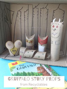 Make these cute Gruffalo props from recyclables to tell the story! Perfect for kids, toddlers, preschoolers, kindergartners too!