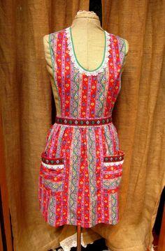 Vintage Bib Apron Embellished with Vintage by GreenLeavesBoutique