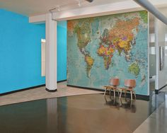 Make a statement wall in your office with super detailed map murals.