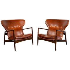Ib Kofod-Larsen Pair of Danish Modern Leather Lounge Chairs Wingback Chairs For Sale, Leather Wingback Chair, Brown Leather Chairs, Leather Lounge, Leather Furniture, Lounge Chairs, Room Chairs, Chair And A Half, Mid Century Modern Furniture
