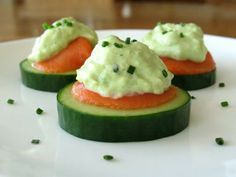 Cucumber Slices With Smoked Salmon &  Avocado Cream