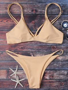 $15.99 High Leg Strappy Bikini Set - APRICOT S