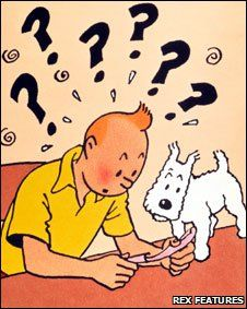 The Secret of the Unicorn • Tintin and Snowy with parchment • Tintin, Herge j'aime