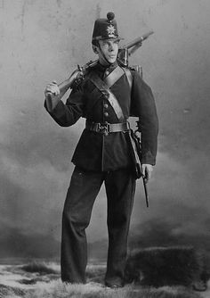Rifleman Taylor.  Men of the Canadian Militia Battalion, the 3rd Victoria Rifles of Montreal, in 1870.  The Victoria Rifles saw action against the Fenians that year, notably in the Battle of Eccles Hill on 25 May 1870. This  portrait was taken to commemorate the event.
