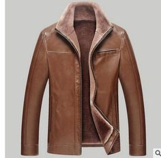 Middle-Aged Business Men'S Leather Jacket Casual Leather Coats Jaqueta De Couro Masculina Men Leather Coats Plus Size J1650-6