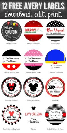 FREE! Print & edit these on Avery.com.  Free Printables Disney Cruise Fish Extender Gift Tags. Download more than 50 free stickers, labels and tags from www.picturethemagic.com. Simply edit and print.