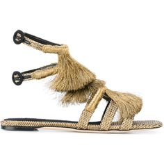 Sanayi 313 fringe sandals (£965) ❤ liked on Polyvore featuring shoes, sandals, grey, pattern leather shoes, gray sandals, gray shoes, metallic shoes and leather fringe sandals