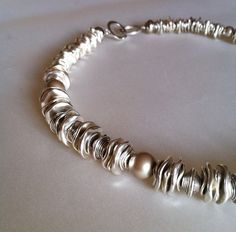 contemporary brutalist silver and pearls short graduated runway necklace - OOAK